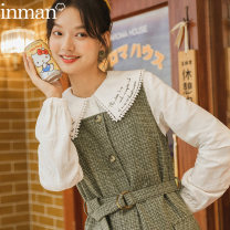 Dress Winter 2020 S M L XL Middle-skirt singleton  Sleeveless commute square neck High waist lattice zipper A-line skirt 25-29 years old Type A Inman  literature 51% (inclusive) - 70% (inclusive) other polyester fiber Same model in shopping mall (sold online and offline)