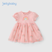 Dress Pink female jellybaby 80cm 90cm 100cm 110cm 120cm 130cm 140cm Other 100% summer princess Short sleeve other other Splicing style other Summer 2021 12 months, 18 months, 2 years old, 3 years old, 4 years old, 5 years old, 6 years old and 7 years old