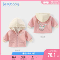 Plain coat jellybaby female spring and autumn leisure time Zipper shirt There are models in the real shooting Plush No detachable cap Solid color other other Other 100% other Spring 2021