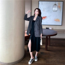 Women's large Winter 2020, autumn 2020 Just grey suit, just black dress M [recommended 90-100 Jin], l [recommended 100-120 Jin], XL [120-140 Jin], 2XL [140-160 Jin recommended], 3XL [160-180 Jin recommended], 4XL [180-200 Jin recommended] Dress Two piece set commute easy moderate Socket Long sleeves