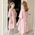 Dress Other / other Short sleeve Korean version Medium and long term summer Crew neck stripe Pure cotton (95% and above) 9012 Chinese Mainland Guangdong Province Guangzhou City Pink M,L,XL,XXL