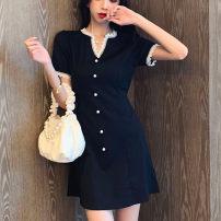 T-shirt black M size 85-100kg, big size l100-115kg, big size xl115-130kg, big size 2xl135-150kg, big size 3xl150-170kg, big size 4xl175-200kg Summer 2020 Short sleeve V-neck Self cultivation Medium length puff sleeve commute polyester fiber 86% (inclusive) -95% (inclusive) Korean version Solid color