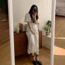 Dress Spring 2021 White, black Average size Mid length dress singleton  Long sleeves commute Crew neck High waist Dot 18-24 years old