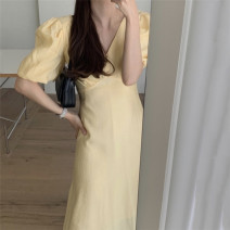 Dress Summer 2021 Yellow, black Average size Mid length dress singleton  Long sleeves commute V-neck High waist Solid color 18-24 years old 81% (inclusive) - 90% (inclusive) other