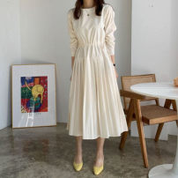 Dress Autumn 2020 Purple, beige, grey S,M,L Mid length dress singleton  Long sleeves commute Crew neck Loose waist Solid color 18-24 years old