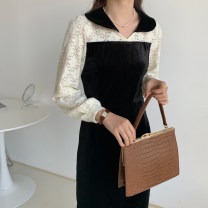 Dress Spring 2021 Picture color Average size longuette singleton  Long sleeves commute V-neck High waist Solid color Socket other 18-24 years old Type X Retro Stitching, lace Lace other