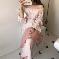 Dress Autumn 2020 Apricot S,M,L Mid length dress singleton  Long sleeves commute square neck High waist Solid color 18-24 years old