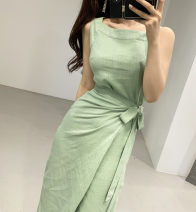 Dress Summer 2020 green S,M,L Mid length dress singleton  Sleeveless commute Crew neck High waist Solid color 18-24 years old