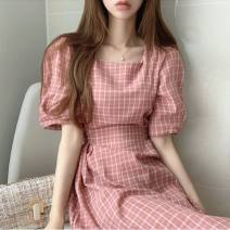 Dress Summer 2020 Green, blue, yellow, pink Average size Mid length dress Short sleeve commute square neck lattice puff sleeve Korean version