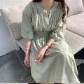 Dress Spring 2021 White, green Average size Mid length dress singleton  Long sleeves commute High waist Solid color 18-24 years old