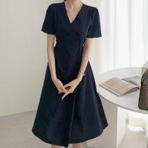 Dress Summer 2021 Dark blue, beige Average size Mid length dress singleton  Short sleeve commute V-neck High waist Solid color 18-24 years old