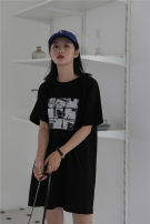 Dress Summer 2021 black S,M,L Middle-skirt singleton  Short sleeve commute Crew neck Loose waist Socket A-line skirt other Others Type H Simplicity More than 95% cotton