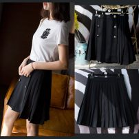 skirt Spring of 2018 S,M,L,XL black Middle-skirt commute Natural waist A-line skirt Solid color Type A More than 95% other Fengwu Silk Road other Britain