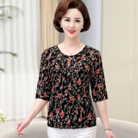 Middle aged and old women's wear Summer 2020, spring 2020 XL,XXL,XXXL,4XL,5XL fashion T-shirt Self cultivation singleton  other 50-59 years old Socket thin Crew neck routine other Lace 3 / 5 sleeve