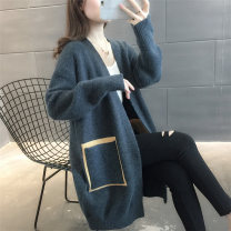 Wool knitwear Spring 2021 Average size Long sleeves singleton  Cardigan other More than 95% Medium length routine commute easy V-neck routine Color matching Korean version 25-29 years old Meidan beauty pocket Other 100% Pure e-commerce (online only)