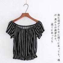T-shirt White diamond, black stripe, white stripe XS,S,M,L,XL Spring 2020 One word collar Self cultivation commute other 51% (inclusive) - 70% (inclusive) Korean version Lady Boya
