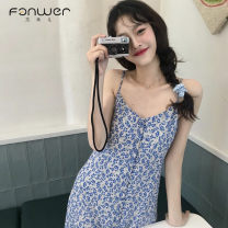 Dress Summer 2021 Blue floral skirt S M Mid length dress singleton  commute Decor camisole 18-24 years old Fan Weier Korean version More than 95% other Other 100% Pure e-commerce (online only)