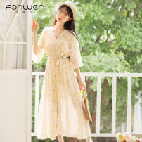 Dress Spring 2021 Apricot blue S M L XL Mid length dress singleton  elbow sleeve Sweet other High waist Decor Socket other other Others 18-24 years old Type A Fan Weier Splicing 3061-2 More than 95% other other Other 100% solar system Pure e-commerce (online only)