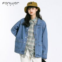 short coat Spring 2021 S M L Denim blue Long sleeves routine routine singleton  easy Sweet routine Polo collar Single breasted 18-24 years old Fan Weier 96% and above 8311-2 other cotton Other 100% Pure e-commerce (online only)