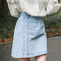 skirt Spring of 2019 S M L blue Short skirt Sweet High waist A-line skirt letter Type A 18-24 years old More than 95% Denim Fan Weier other Embroidered pocket button zipper Other 100% Pure e-commerce (online only) 101g / m ^ 2 (including) - 120g / m ^ 2 (including) college