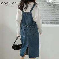 Dress Autumn 2020 Denim blue S M L Mid length dress singleton  Sweet Solid color straps 18-24 years old Type A Fan Weier Button 8337-1 More than 95% Denim other Other 100% solar system Pure e-commerce (online only)