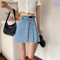 skirt Summer 2021 S M L White blue Short skirt Versatile High waist Pleated skirt Type A 18-24 years old 51% (inclusive) - 70% (inclusive) Denim Fan Weier cotton Asymmetry Cotton 51% others 49% Pure e-commerce (online only)