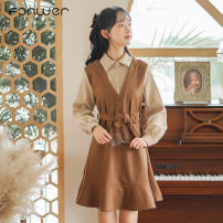 Dress Winter 2020 Blue Khaki S M L XL Mid length dress singleton  Long sleeves Sweet other High waist Solid color Socket other other Others 18-24 years old Type A Fan Weier 6242-1 More than 95% other other Other 100% solar system Pure e-commerce (online only)