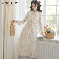 Dress Spring 2021 Apricot blue S M L XL Mid length dress singleton  Long sleeves Sweet other High waist Solid color Socket other other Others 18-24 years old Type A Fan Weier bow More than 95% other other Other 100% solar system Pure e-commerce (online only)