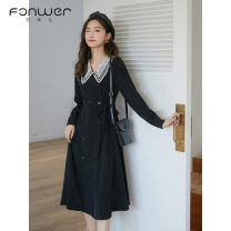 Dress Spring 2021 black S M L XL 2XL Mid length dress singleton  Long sleeves Sweet V-neck High waist Solid color Socket A-line skirt routine Others 18-24 years old Type A Fan Weier zipper 3324-1 More than 95% other other Other 100% solar system Pure e-commerce (online only)