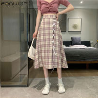 skirt Summer 2021 Average size Pink lattice Green lattice black lattice purple lattice Mid length dress commute Natural waist Type A 18-24 years old A3119 More than 95% Fan Weier other Bowtie Korean version Other 100% Pure e-commerce (online only)