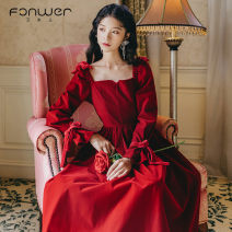 Dress Spring 2021 Red and black S M L Mid length dress singleton  Long sleeves Sweet square neck High waist Solid color zipper A-line skirt other 18-24 years old Type A Fan Weier Y8018-1 More than 95% other Other 100% solar system Pure e-commerce (online only)