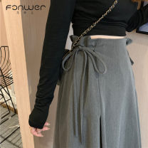 skirt Summer 2021 S M L Grey black Mid length dress Sweet High waist A-line skirt Solid color Type A 18-24 years old 88552-1 More than 95% Fan Weier other Bandage Other 100% Pure e-commerce (online only) solar system