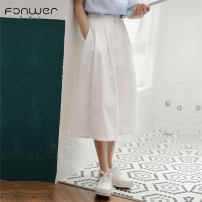 Casual pants white S M L Summer 2020 Cropped Trousers loose  High waist Sweet routine 18-24 years old 96% and above Fan Weier Other 100% Pure e-commerce (online only) solar system