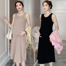 Dress other Khaki, black Average size Korean version Sleeveless Medium length spring Crew neck Solid color wool