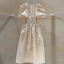 Dress Summer 2020 White, blue, apricot S,M,L,XL Mid length dress singleton  Short sleeve commute Crew neck Elastic waist Solid color Socket Big swing puff sleeve 18-24 years old Korean version 51% (inclusive) - 70% (inclusive) other