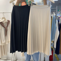 skirt Autumn 2020 S,M,L,XL Black, apricot Mid length dress commute High waist Pleated skirt Solid color Type A 18-24 years old 51% (inclusive) - 70% (inclusive) other fold Korean version