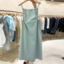 Dress Summer 2021 Green, white, black S,M,L,XL Mid length dress singleton  Long sleeves commute High waist Solid color A-line skirt routine camisole 18-24 years old Type A Korean version 51% (inclusive) - 70% (inclusive) other other