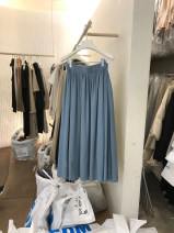skirt Autumn 2020 S,M,L,XL Blue, white, black Mid length dress commute High waist A-line skirt Solid color Type A 18-24 years old 51% (inclusive) - 70% (inclusive) other other Korean version