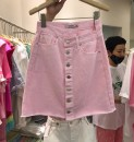 Jeans Summer 2020 Light green, pink S,M,L,XL shorts High waist Straight pants routine 18-24 years old Button other Dark color 31% (inclusive) - 50% (inclusive)
