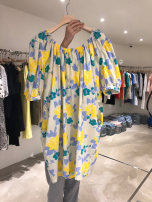 Dress Summer 2020 Off white, orange S,M,L,XL Mid length dress singleton  Short sleeve commute One word collar High waist Decor Socket puff sleeve 18-24 years old T-type Korean version 31% (inclusive) - 50% (inclusive)