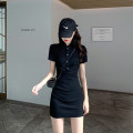 Dress Summer 2021 black S M L XL Short skirt singleton  Short sleeve commute Polo collar High waist Solid color Socket A-line skirt routine 18-24 years old Type A Love fame and elegance Korean version Button FL19924 More than 95% other Other 100% Pure e-commerce (online only)