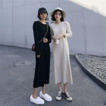 Dress Winter 2020 S M L XL longuette singleton  Long sleeves commute Crew neck High waist Solid color Socket 18-24 years old Type A Love fame and elegance Retro Splicing More than 95% knitting other Other 100% Pure e-commerce (online only)