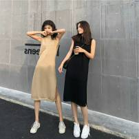 Dress Summer 2020 Black apricot S M L XL longuette singleton  Sleeveless commute V-neck Loose waist Solid color Socket A-line skirt routine camisole 18-24 years old Type A Love fame and elegance More than 95% knitting other Other 100% Pure e-commerce (online only)