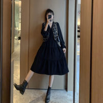 Dress Winter 2020 Vest + black dress S M L XL Mid length dress Two piece set Long sleeves commute V-neck High waist Solid color Socket A-line skirt routine Others 18-24 years old Type A Love fame and elegance Korean version Splicing WZY8327 More than 95% other other Other 100%