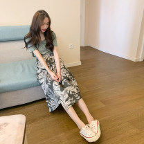 Dress Summer 2020 T-shirt + skirt suit S M L XL longuette Two piece set Short sleeve Sweet Crew neck High waist Broken flowers Socket A-line skirt routine 18-24 years old Type A Love fame and elegance Lace up printing FL19930 More than 95% other Other 100% Mori Pure e-commerce (online only)
