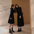 Dress Winter 2020 Black long black short S M L XL Mid length dress singleton  Long sleeves commute Half high collar High waist Solid color Socket A-line skirt routine Others 18-24 years old Type A Love fame and elegance Korean version HYL8027-1 More than 95% other other Other 100%
