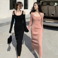 Dress Winter 2020 Orange pink black S M L XL longuette singleton  Long sleeves commute other High waist Solid color Socket A-line skirt routine Others 18-24 years old Type A Love fame and elegance Korean version XDZ3010 More than 95% other other Other 100% Pure e-commerce (online only)