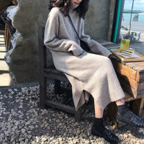 Dress Winter 2020 Dark grey oatmeal S M L XL longuette singleton  Long sleeves commute High collar High waist Solid color Socket Irregular skirt routine 18-24 years old Type A Love fame and elegance Korean version Splicing FH8013-AA More than 95% knitting other Other 100%