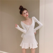 Dress Autumn 2020 White, black S,M,L Short skirt singleton  Long sleeves commute Crew neck High waist Solid color Socket Ruffle Skirt routine Others 18-24 years old Type H Korean version Lotus leaf edge 31% (inclusive) - 50% (inclusive) knitting cotton