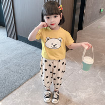 suit Other / other Yellow, black 90cm,100cm,110cm,120cm,130cm female summer leisure time Short sleeve + pants 2 pieces Thin money There are models in the real shooting Socket cotton Chinese Mainland